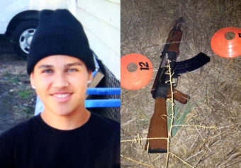 This combination of photos provided by the family via The Press Democrat and the Sonoma County Sheriff's Department shows an undated photo of 13-year-old Andy Lopez and the replica assault rifle he was holding when he was shot and killed by two Sonoma County deputies in Santa Rosa, Calif. on Tuesday. AP