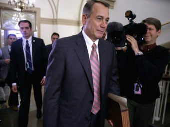 Speaker of the House John Boehner arrives at the U.S. Capitol on Monday. House Republicans remain an obstacle to any emerging deal. Chip Somodevilla/Getty Images