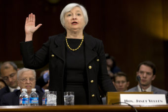 Janet Yellen, President Obama's nominee to become the next chairman of the Federal Reserve Board, is sworn in Thursday on Capitol Hill for her confirmation hearing. Jacquelyn Martin/AP