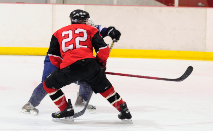 Juneau defenseman Michael Dale closes off a lane to a Soldotna opponent in a weekend series at Treadwell Ice Arena