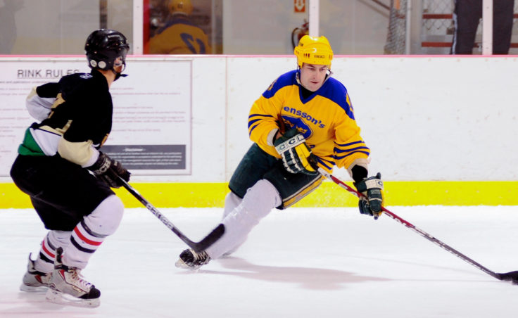 Svensson Boatworks' Jim Sheehan cuts hard then rips off a shot in a first-round playoff game versus the Viking. Sheehan scored three straight goals that game for his team, which eventually advanced to the Tier A title game.
