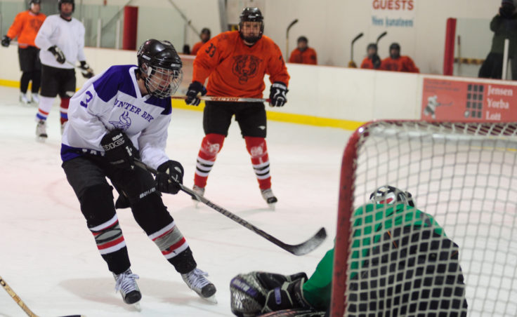 Funter Bay's Brady Wilson comes in hard on a breakaway but gets stuffed by Tigers' goalie Stephen Ely in a C Tier title game that went into overtime.