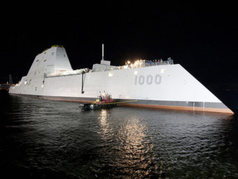 "The USS Zumwalt, the first in a new class of ""stealth"" destroyers. U.S. Navy/General Dynamics"