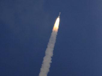 A rocket carrying the Mars orbiter lifts off from the island of Sriharikota, India, on Tuesday. Arun Sankar K/AP