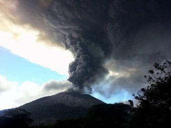 The Chaparrastique volcano in eastern El Salvador erupted on Sunday. Hector Garay/Telenoticias 21/AFP/Getty Images
