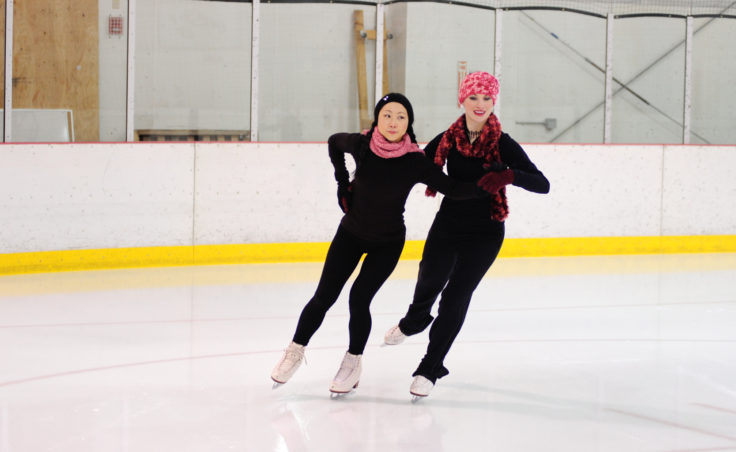 (From Left) Masayo Nishiyama and Alexandra Sargent team up during a final group performance skated to It's beginning to look a lot like Christmas.
