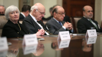 The Senate has approved Janet Yellen as the next head of the Federal Reserve. At a ceremony commemorating the Fed's centennial last month, Yellen sat with (from left-to-right) former chairmen Paul Volker and Alan Greenspan, and current Fed leader Ben Bernanke. Mark Wilson/Getty Images