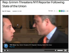 Rep. Michael Grimm, R-N.Y., right, as he confronted NY1 reporter Michael Scotto on Tuesday in the Capitol. NY1.com