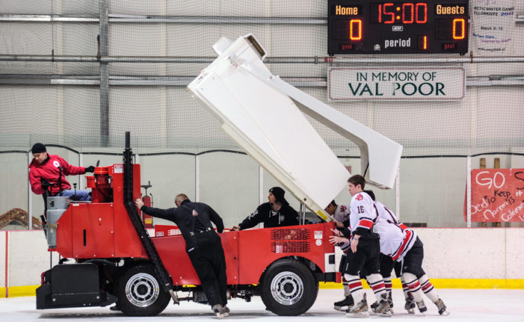 The season finale encountered a delay when one of the arena's zamboni's had mechanical failure. The back up arrived and was put into service.