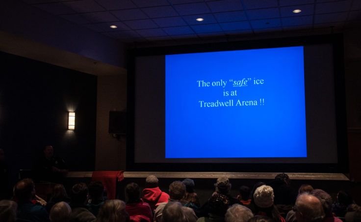 Slide: Attendees were reminded often that every time you step out on the ice, you're taking a risk. (Photo by Greg Culley)