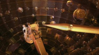 The National Ignition Facility's 192 laser beams focus onto a tiny target. LLNL