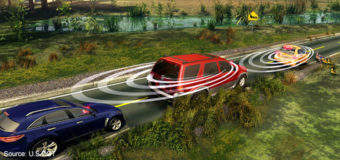 An illustration showing how a vehicle-to-vehicle communication system would work. U.S. Department Of Transportation