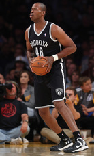 Jason Collins of the Brooklyn Nets during Sunday's game against the Lakers in Los Angeles. Jeff Gross/Getty Images