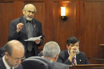 Sen. Fred Dyson speaks on the floor of the Alaska Senate, Feb. 10, 2014. (Photo by Skip Gray/Gavel Alaska)