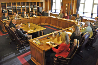 A tense mood turns jovial as the Alaska House Finance Committee prepares to adjourn after discussing Senate Bill 49 and House Bill 173; similar bills that would restrict Medicaid payment for abortions. (Photo by Skip Gray/Gavel Alaska)