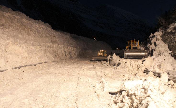 Keystone Canyonn avalanche cleanup. (Photo courtesy of the Alaska Department of Transportation)