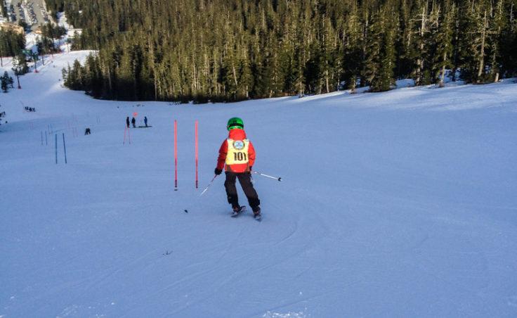 Malachi Peimann, age 8, heads down the giant slalom course on Sourdough trail.