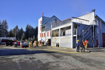 Participants complete search and rescue and fire attack training at Hagevig Fire Training Center on Saturday, Feb. 1. Photo by Annie Bartholomew/KTOO