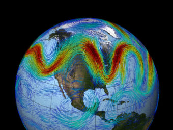 The jet stream that circles Earth's north pole travels west to east. But when the jet stream interacts with a Rossby wave, as shown here, the winds can wander far north and south, bringing frigid air to normally mild southern states. NASA/GSFC
