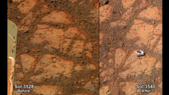 """This composite image provided by NASA shows before-and-after images taken by the Opportunity rover on Mars of a patch of ground taken on Dec. 26, 2013, showing the """"Pinnacle Island"""" rock. AP"""