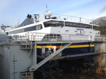 The fast ferry Chenega is up on blocks for repairs and maintenance at the Ketchikan Shipyard Feb. 21, 2014. The Alaska Marine Highway, roads, air[ports and other transportation projects could get a funding boost under Legislation moving in the state House. (Ed Schoenfeld/CoastAlaska News)