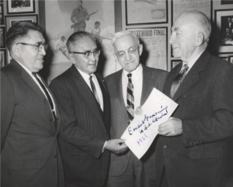 Historical pictures of Alaska U.S. Senators Bob Bartlett and Ernest Gruening compiled for the first Bartlett-Gruening Dinner by Geoffrey Bacon. (Courtesy Geoffrey Bacon)