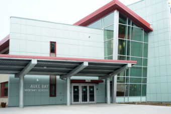 A picture of the entrance of Auke Bay School