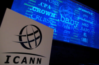 A screen shows a rolling feed of new generic top-Level domain names (gTLDs) that have been applied for. Andrew Cowie/AFP/Getty Images