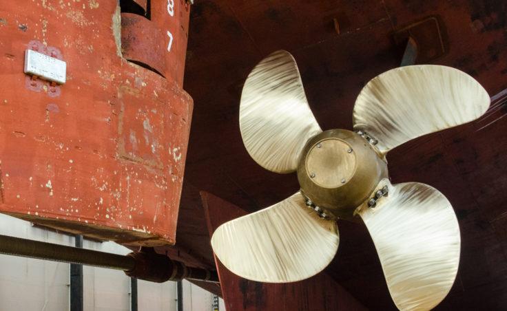 The two massive propellers push the 408 foot long Matanuska along at 16.5 knots.