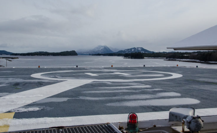 The Kennicott is also an oil-spill response ship. It is the only Alaska ferry with a helicopter landing pad.