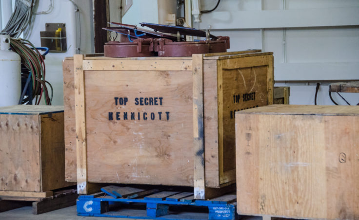 Engineer shenanigans. How do you keep other people from taking your favorite tool? Put it in a crate stamped top secret.