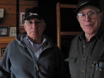Bob Allen (right) was on a fishing boat south of Kodak Island during Alaska's 1964 earthquake. While Allen's brother Jack (left) was a State Trooper in Anchorage. (Photo by Emily Forman/KCAW)