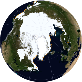 A NASA Blue Marble view of Arctic sea ice on March 21, 2014. (Image courtesy NSIDC)