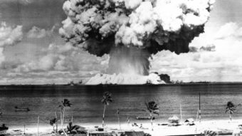 The second atomic bomb test at Bikini Atoll on July 25, 1946. The Marshall Islands, where Bikini is located, is suing the U.S. for what it calls a violation of the Nuclear Non-Proliferation Treaty. (Anonymous/AP)