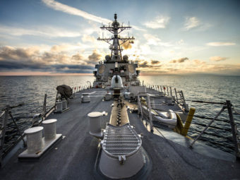 The USS Donald Cook, a guided-missile destroyer, on patrol Saturday in the Black Sea. Mass Communication Specialist Seaman Edward Guttierrez III/U.S. Navy
