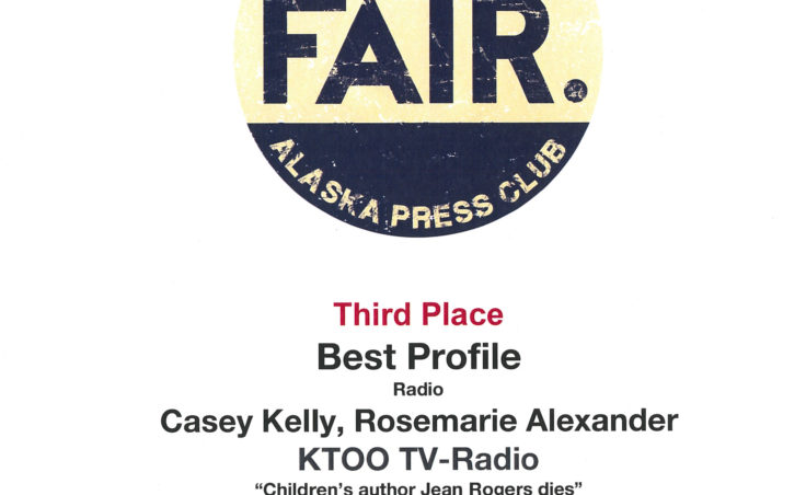 "Casey Kelly and Rosemarie Alexander won third place for their radio profile piece ""Children's author Jean Rogers dies."""