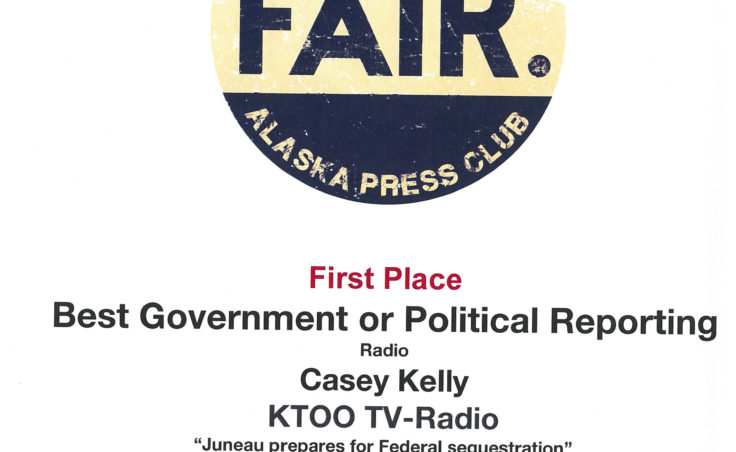 "Casey Kelly won First Place in Best Government or Political Reporting for his piece ""Juneau prepares for Federal Sequestration."""