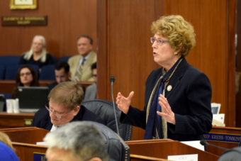 "Rep. Gabrielle LeDoux addresses the Alaska House of Representative on April 10, 2014, during debate on Senate Bill 49. The bill aims to limit Medicaid coverage of abortions to only ""medically necessary"" ones. (Photo by Skip Gray/Gavel Alaska)"