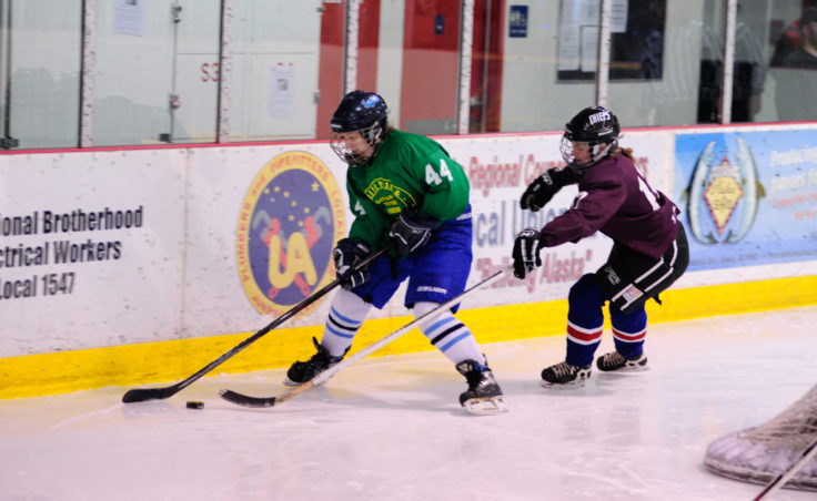 Treadwell's Caroline Schultz closely marks White Pass' Olivia Hoess in a 1-0 Women's Tier title game won by White Pass.