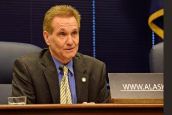 Sen. Kevin Meyer talks to reporters at a Senate Majority press availability, March 25, 2014. (Photo by Skip Gray/Gavel Alaska)