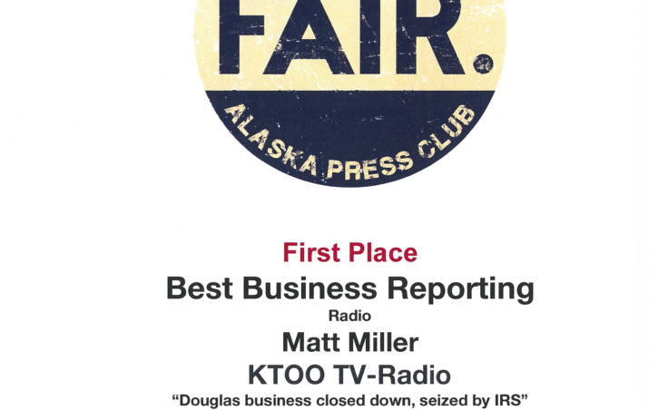 "Matt Miller won first place in radio business reporting for his piece ""Douglas business closed down, seized by IRS."""