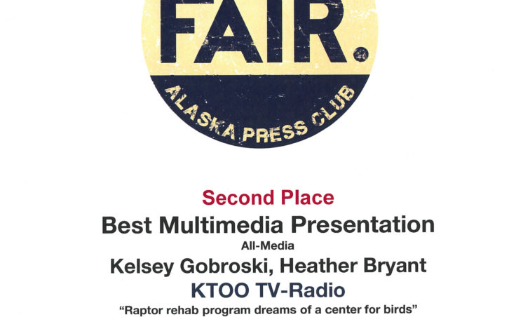 "Kelsey Gobroski and Heather Bryant won second place in best multimedia presentation for their package ""Raptor rehab program dreams of a center for birds."""