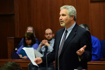 Sen. Pete Kelly addresses the Alaska Senate on April 7, 2014. (Photo by Skip Gray/Gavel Alaska)