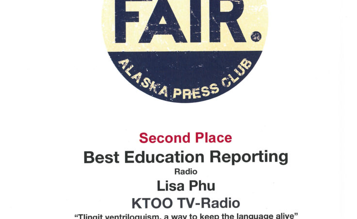 "Lisa Phu won second place in radio reporting on education for her piece ""Tlingit ventriloquism, a way to keep the language alive."""