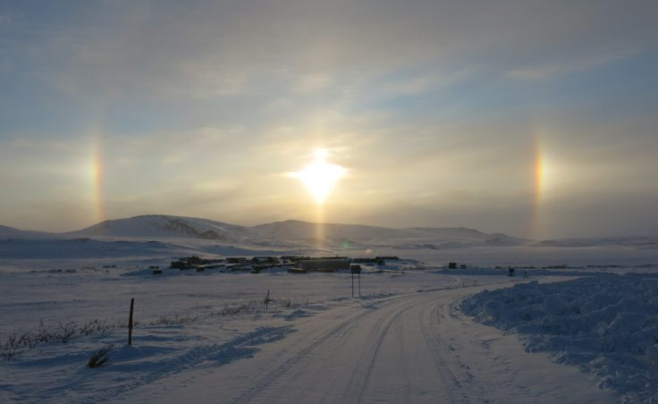 A sun dog above the entrance to Toolik Field Station, 111 miles south of Prudhoe Bay. (Photo by Ned Rozell)