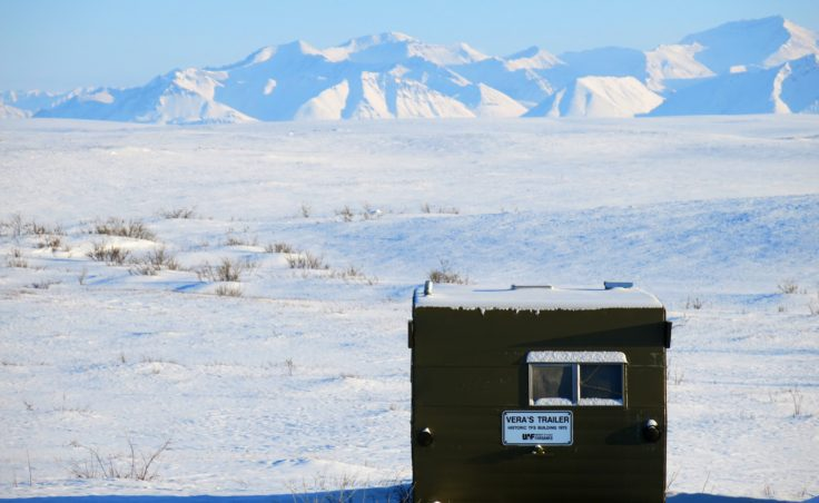 A trailer that was the original lodging for Toolik Field Station during its first year of 1975. (Photo by Ned Rozell)