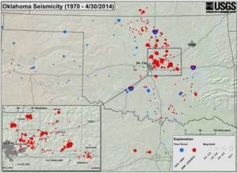 A map showing seismic activity in Oklahoma since 1970. United States Geological Survey