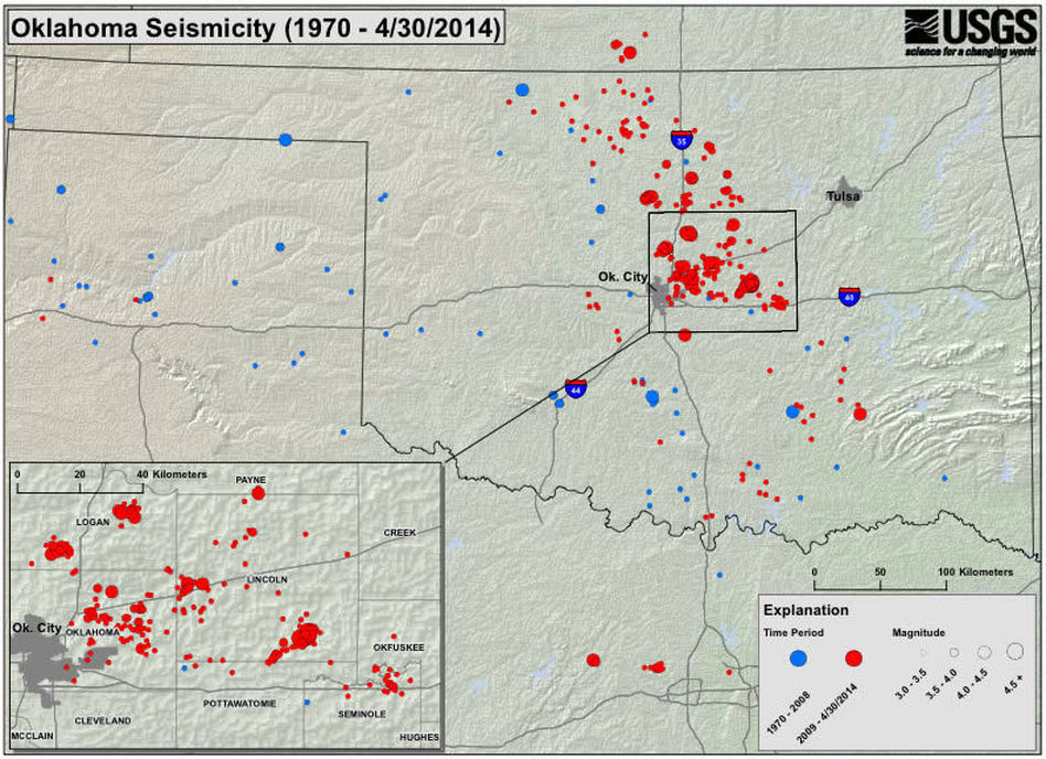 A map showing seismic activity in Oklahoma since 1970. United States ...