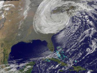 A satellite image provided by NASA shows Superstorm Sandy on Oct. 30, 2012. NASA/Getty Images