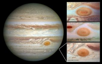 NASA images showing Jupiter's gradually shrinking Great Red Spot. Hubble Space Telescope/NASA